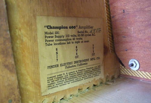 Tweed Fender Champ 4802 Tube chart