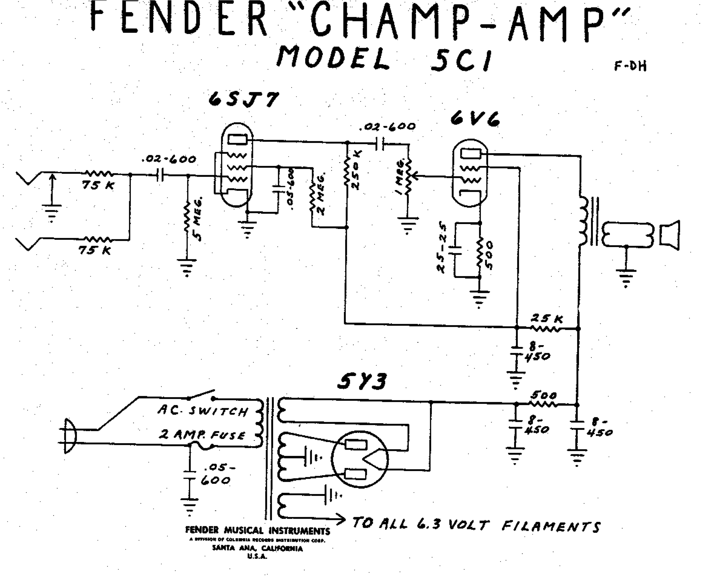 Fender Ch  5c1 Wiring Diagram on diagram for guitar tube schematic