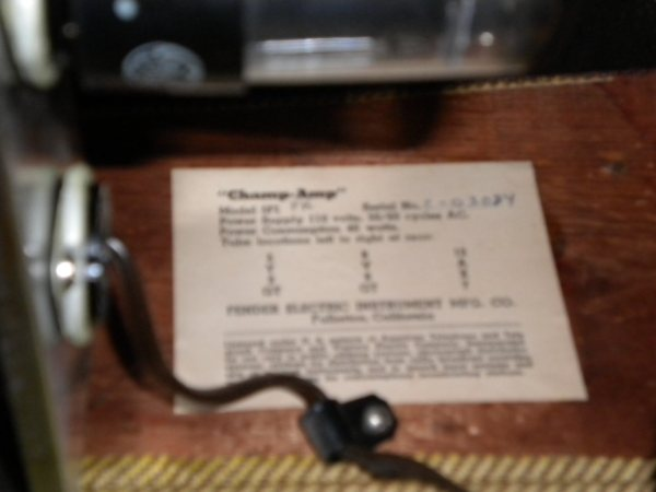 Tweed Fender Champ C-03084 tube chart